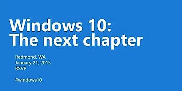 Windows 10: Microsoft annuncia un nuovo evento per il 21 Gennaio 2015
