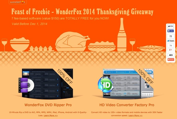 Feast of Freebie: 7 software gratuiti da Wonderfox per il Thanksgiving 2014