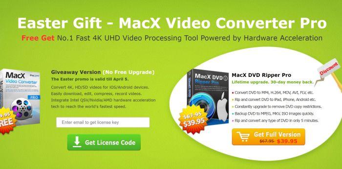 1 Settimana per avere MacX Video Converter Pro gratis per Pasqua 2018