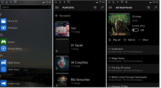 Groove Music Windows 10 Mobile
