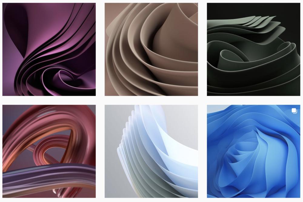 Il profilo Instagram con immagini ispirate allo sfondo di Windows 11 del web designer 24 Nights