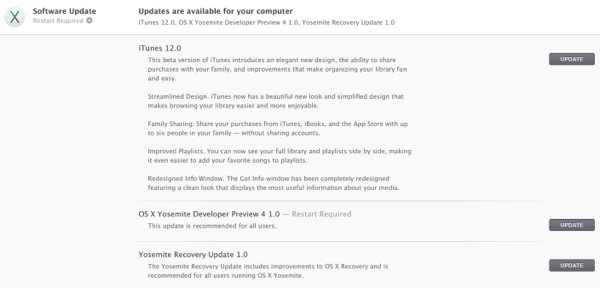 iTunes 12 e OS X 10.10 Yosemite Developer Preview 4 disponibili