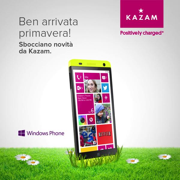Kazam Thunder 450W con Windows Phone 8.1 disponibile in Italia dal 3 Aprile. Ecco scheda tecnica completa ed immagini