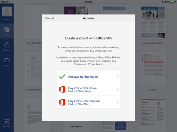 Microsoft aggiunge la sottoscrizione mensile a Office 365 nelle App per iPad