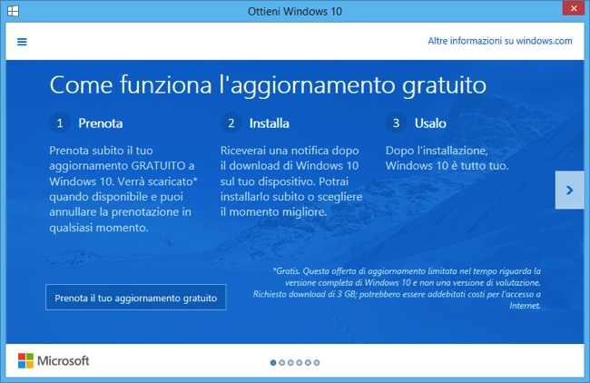 Windows 10 prenotazione