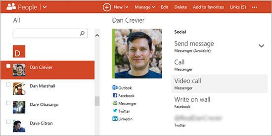 Skype Outlook people