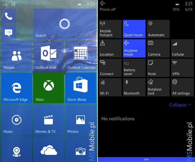 Windows 10 mobile 10149 tiles
