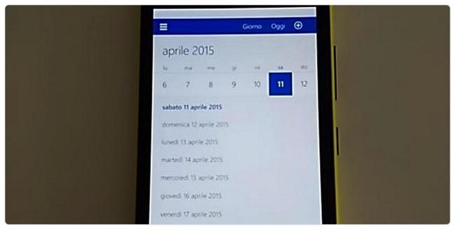 Windows 10 mobile calendario