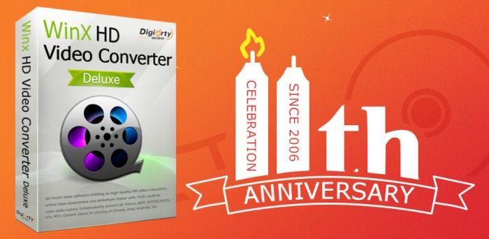 11 Giorni per avere WinX HD Video Converter Deluxe in licenza gratuita in occasione dell'undicesimo anniversario