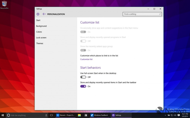 Windows 10 build 10114 customize start