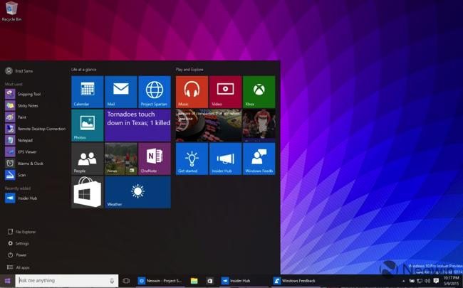 Windows 10 Build 10114 start