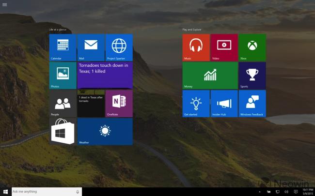 Windows 10 build 10114 start menu full streen