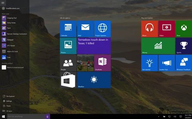 Windows 10 build 10114 start hamburger