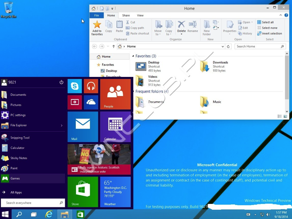 Windows 9 Build 9821 Leaked sul Web