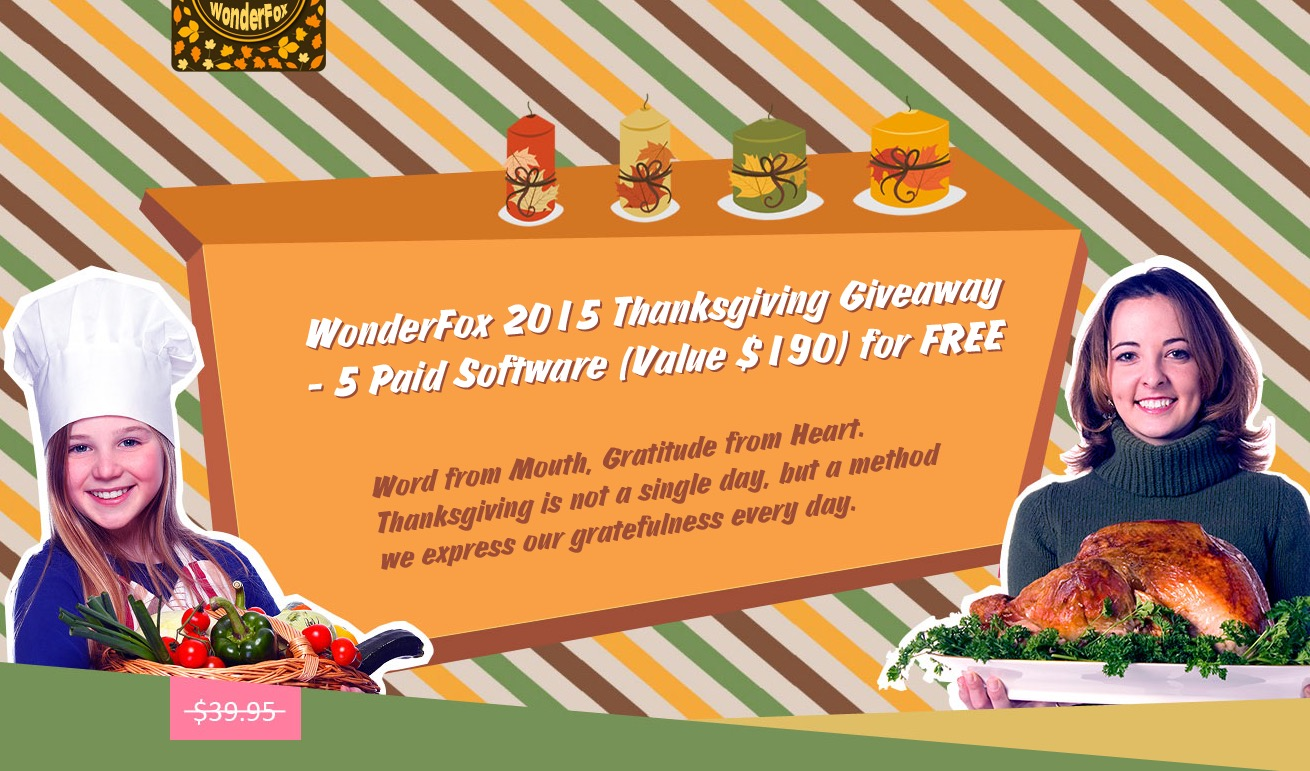 5 software gratis da Wonderfox per il Thanksgiving 2015