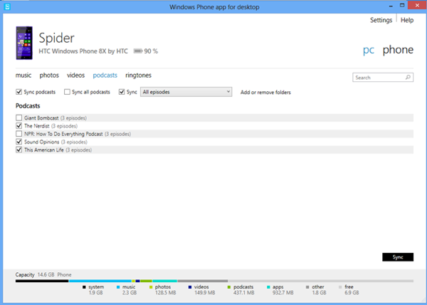 WindowsPhone App Desktop PC
