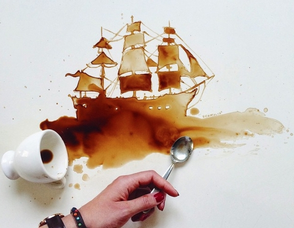 10 opere create usando il caffe ed il cioccolato