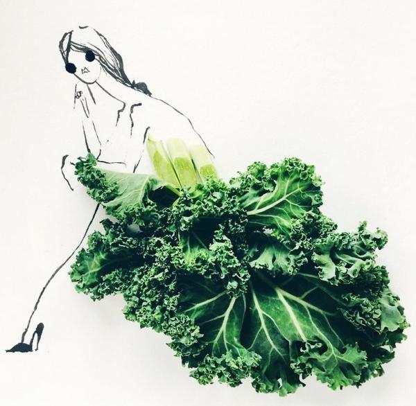 14 immagini di verdura e frutta che diventano figurini di moda