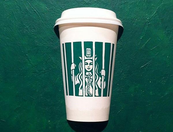 24 illustrazioni di tazze Starbucks rivisitate
