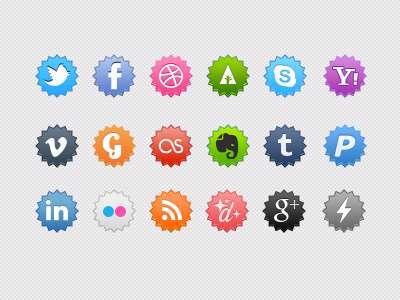 35 sets di icone circolari di social media