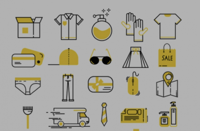 40 icone vettoriali dedicate allo shopping ed ai vestiti