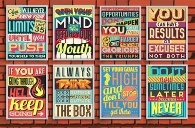8 poster vintage motivazionali e da ispirazione
