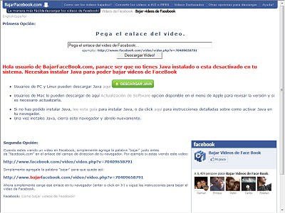 Bajar Videos de Face Book