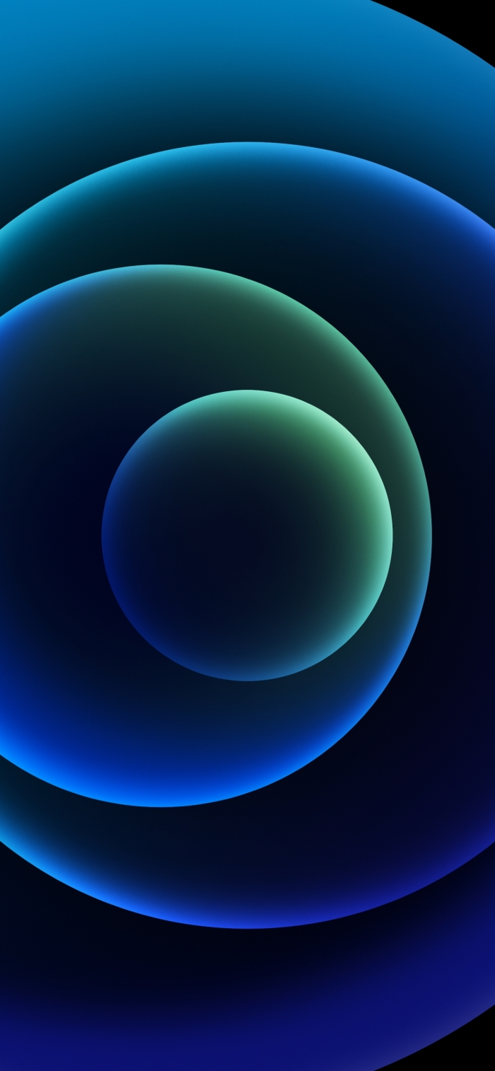 iPhone 12 Wallpaper Orbs Blue Dark