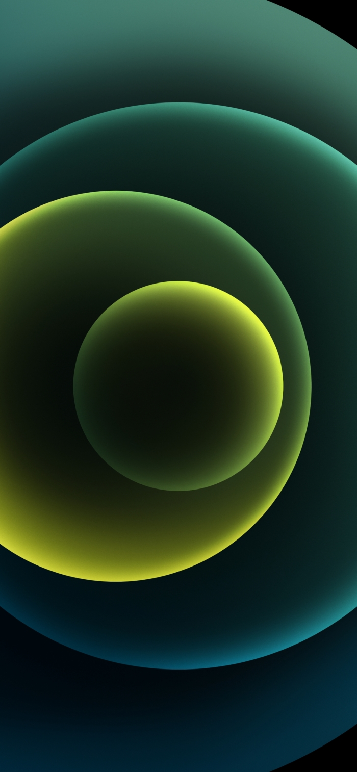 iPhone 12 Wallpaper Orbs Green Dark