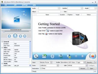 Joboshare DVD to BlackBerry Converter