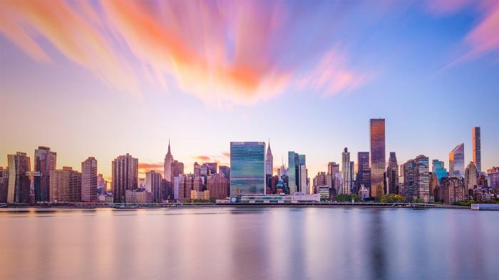 New York Skyline con il palazzo dell'Onu